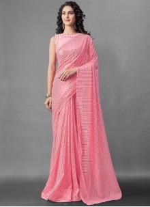 Pink Faux Georgette Sequins Designer Saree