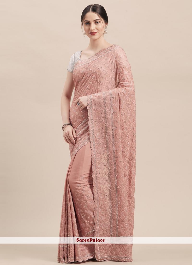 Pink Faux Georgette Trendy Saree