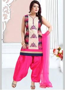 Pink Festival Banglori Silk Designer Patiala Suit