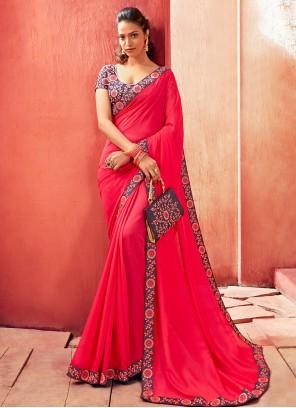 Pink Festival Chanderi Designer Saree
