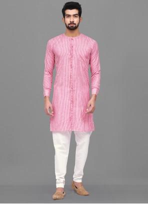 Pink Festival Cotton Kurta Pyjama