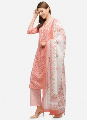 Pink Festival Cotton Readymade Suit