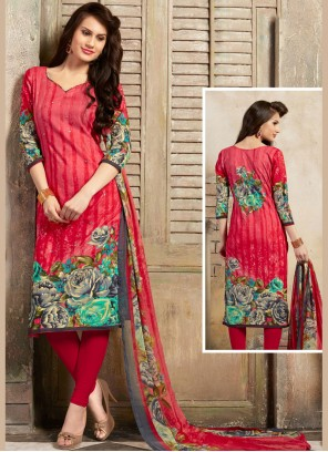 Pink Festival Cotton Trendy Churidar Salwar Kameez