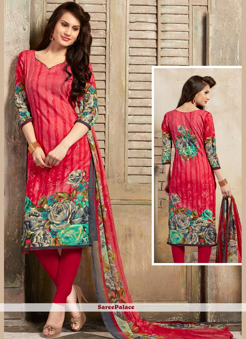 Pink Festival Cotton Trendy Churidar Salwar Kameez