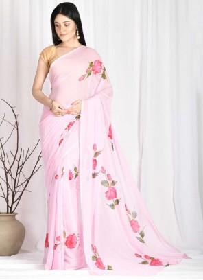 Pink Festival Faux Chiffon Printed Saree