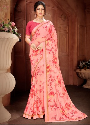 Pink Festival Faux Georgette Printed Saree