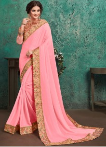 Pink Festival Faux Georgette Traditional Saree