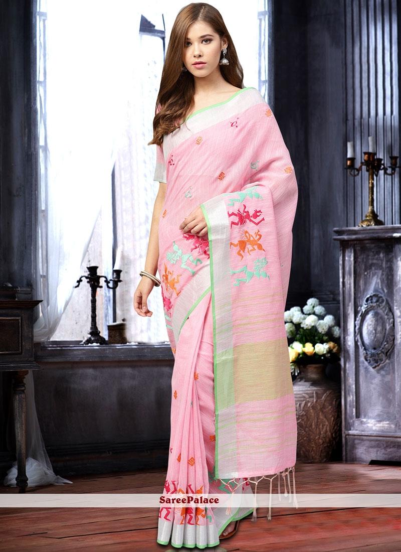 Pink Festival Linen Classic Saree