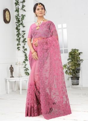 Pink Festival Embroidered Net Designer Saree