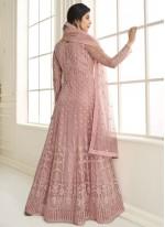 Pink Festival Net Floor Length Anarkali Suit