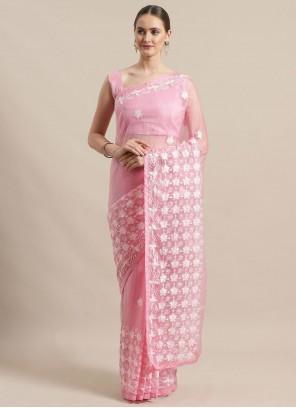 Pink Festival Organza Classic Saree
