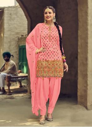 Pink Festival Patiala Suit