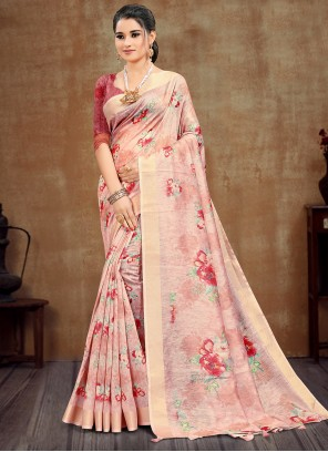 Pink Festival Cotton Printed Saree