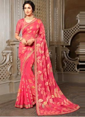 Pink Festival Printed Saree