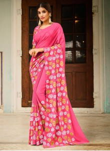 Pink Abstract Print Faux Georgette Festival Saree