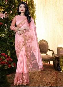 Pink Festival Satin Designer Saree