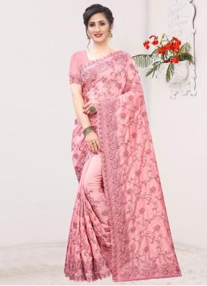 Pink Festival Silk Bollywood Saree
