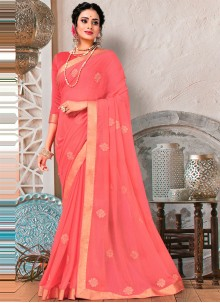 Pink Embroidered Faux Chiffon Trendy Saree