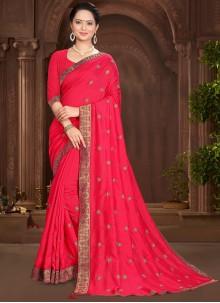 Pink Festival Vichitra Silk Traditional Saree