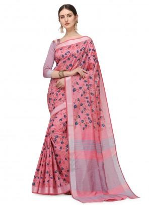 Cotton Silk Pink Floral Printed Saree