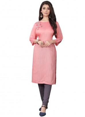 Pink Floral Print Viscose Designer Kurti