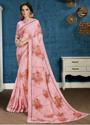 Pink Georgette Ceremonial Traditional Saree