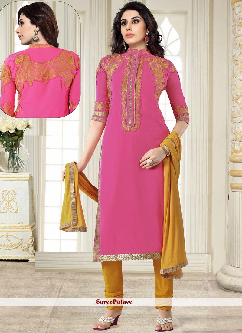 Pink Georgette Churidar Salwar Suit