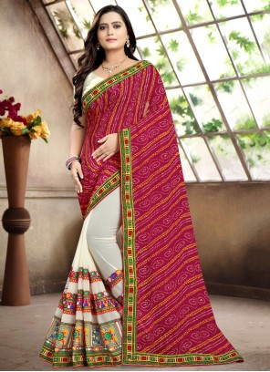 Pink Georgette Party Bollywood Saree