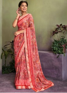 Pink Georgette Party Designer Saree