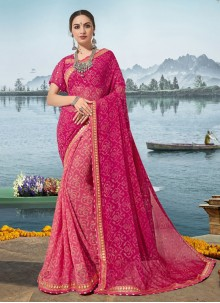 Pink Georgette Printed Designer Saree