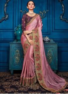 Pink Georgette Satin Classic Designer Saree