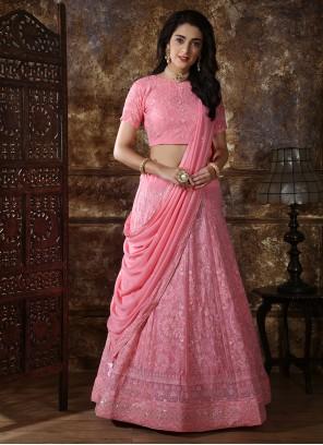 Pink Georgette Thread Work A Line Lehenga Choli