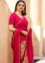 Pink Georgette Traditional Saree
