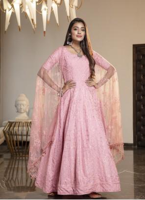 Pink Georgette Wedding Designer Gown