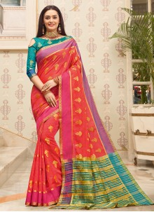 Pink Handloom Cotton Classic Saree