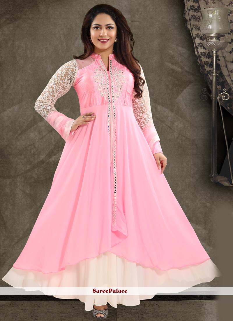 Pink Handwork Georgette Salwar Kameez