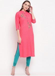 Pink Handwork Rayon Designer Kurti