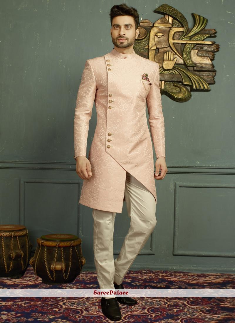 Pink Jacquard Indo Western