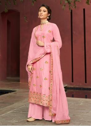 Pink Jacquard Silk Designer Palazzo Suit