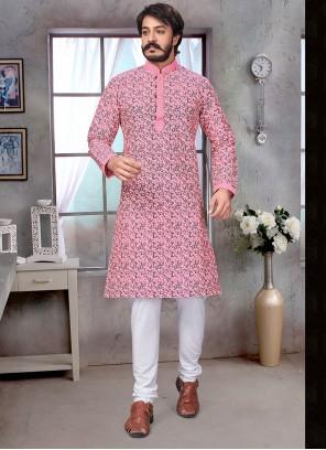 Pink Jacquard Silk Kurta Pyjama