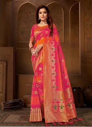 Pink Jacquard Silk Trendy Saree