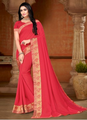 Pink Lace Casual Contemporary Saree