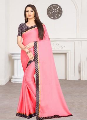 Pink Lace Faux Chiffon Trendy Saree