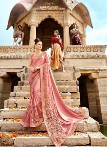 Pink Lace Lycra Classic Saree