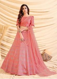 Pink Foliage Prints Lace Sangeet Lehenga Choli