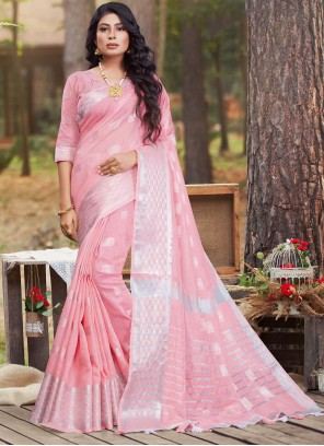 Pink Woven Work Linen Traditional Saree