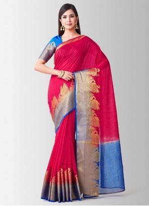 Pink Linen Designer Traditional Saree