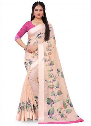 Pink Linen Floral Print Saree
