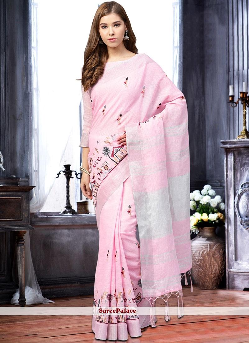 Pink Linen Print Classic Saree