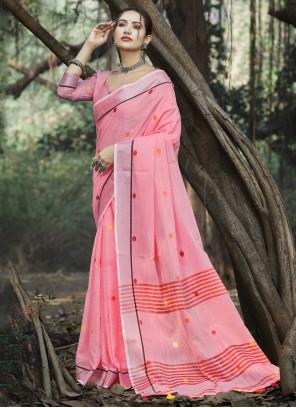 Pink Linen Trendy Saree